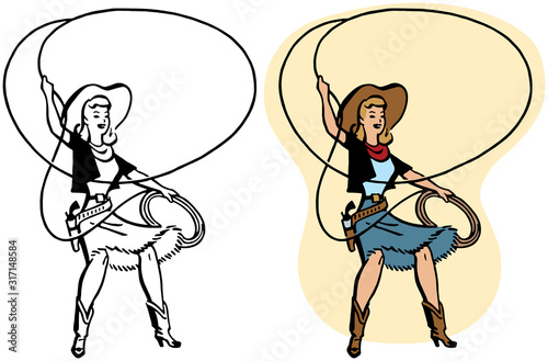 A cowgirl twirls a rope lasso in a rodeo performance. Wallpaper Mural