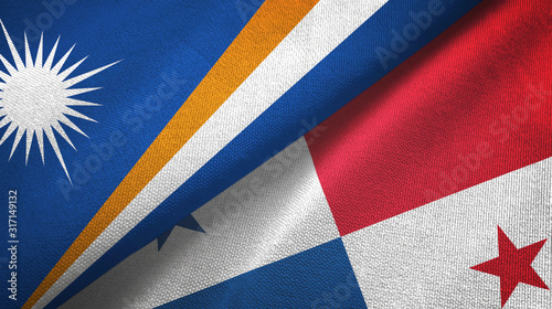 Marshall Islands and Panama two flags textile cloth, fabric texture Canvas Print
