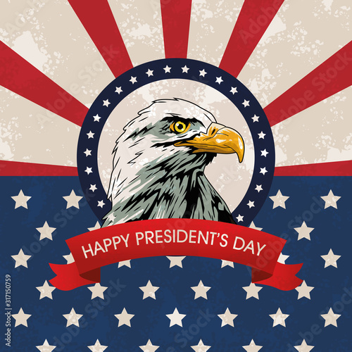 Fotografie, Tablou  happy presidents day poster with eagle and usa flag