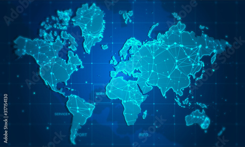 Fototapeta mapa świata   world-map-digital-technology-concept-business-networking-background