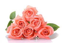 Orange Peach Color Tone Of Rose Flower Bouquet Isolated On White Background