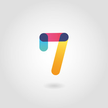 Vector Colorful Number Seven L...
