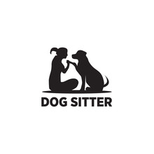 Dog Sitter Logo Icon Design Ve...