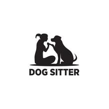 Dog Sitter Logo Icon Design Vector Template