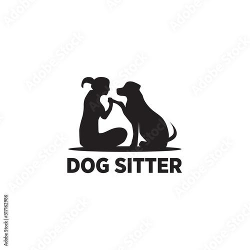 Fotomural Dog sitter logo icon design vector template