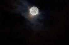 Bright Full Moon Shining In Th...