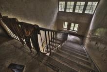 High Angle Shot Of A Staircase...