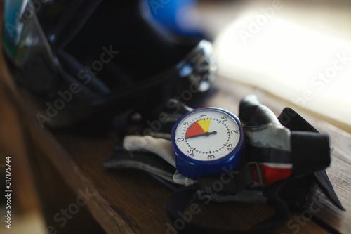 Parachute altimeter, gloves, helmet, close-up Canvas Print