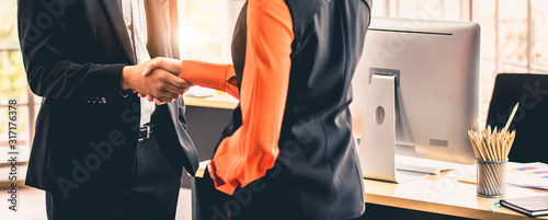 Profession Successful business people handshake, shaking hands together Canvas Print