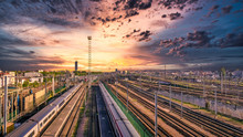 Sunset Train Tracks