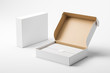 canvas print picture - Open and closed white realistic cardboard box with paper and a sticker on a light background. The concept of business gifts. Mock up. 3d rendering