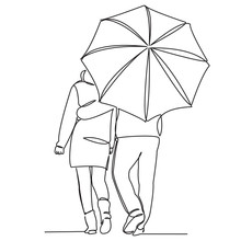 Couple In Love Under An Umbrella_01