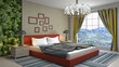 canvas print picture - Bedroom interior. Bed. 3d illustration