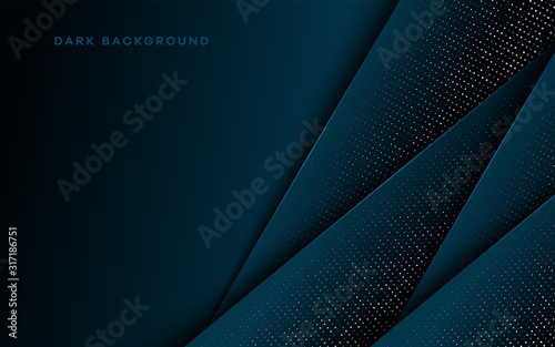 Obraz Abstract blue light 3D on dark blue blank space design modern futuristic technology background vector illustration. - fototapety do salonu