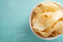Potato Chips Heaping In A Bowl
