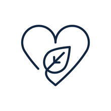 Heart Love Leaf Nature Ecology Environment Icon Linear