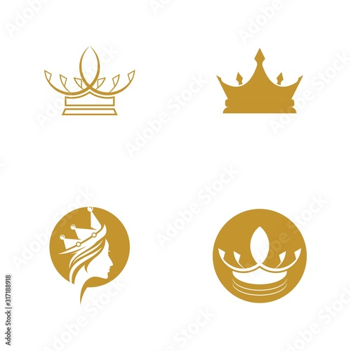 Crown Logo Template vector icon Canvas Print