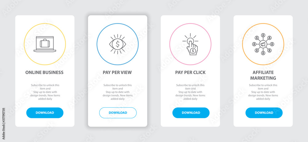 Fototapeta Online business 4 webpage banners line concept template with online business, pay per view, pay per click, affiliate marketing icons