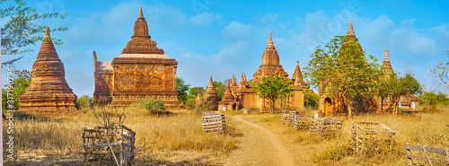 Photo Panorama with ancient shrines, Bagan, Myanmar