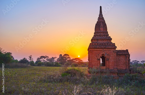 Sunset in Bagan, Myanmar Wallpaper Mural