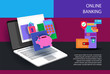 Internet banking business banner with ATM and piggy Bank icons