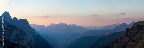 Photo Looking South-East from the Three Peaks in the Dolomite Alps during sunrise, Sou