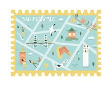 Postal Stamp With San Francisc...
