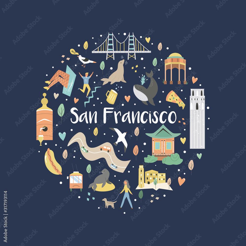 Fototapeta San Francisco hand drawn flat vector with symbols