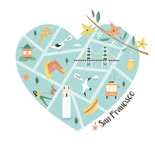 San Francisco Illustrated City Map With Landmarks