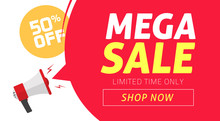 Mega Sale Banner Design With O...