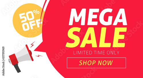 Photo Mega sale banner design with off price discount offer tag and megaphone announce
