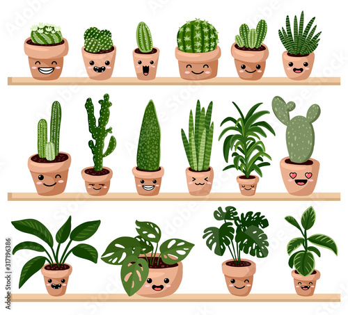 Fototapeta Set of hygge potted kawaii emoticon emoji succulent plants on shelf. Cozy lagom scandinavian style collection of plants obraz