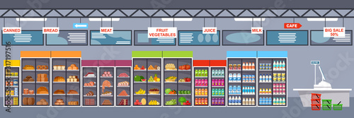 Supermarket interior with products. Big store. Vector illustration #317197516