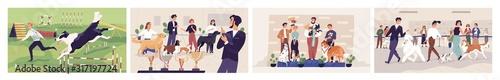 Fotografía Cartoon dogs show colored vector graphic illustration