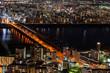 大阪、十三大橋の夜景と淀川