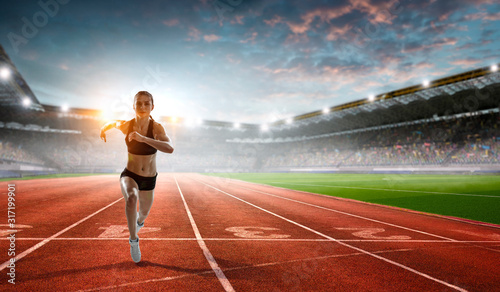 Athlete running race. Mixed media Wallpaper Mural