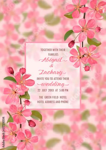 Платно Wedding Invitation with cherry blossom