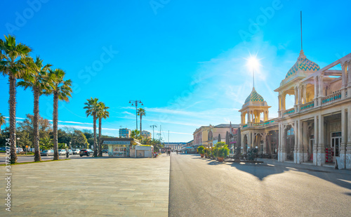 Fototapeta Famous Passeggiata a mare, seafront promenade in Viareggio, Versilia, Tuscany, I