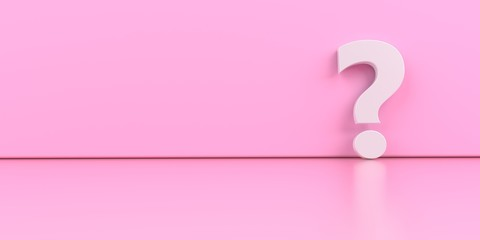 A white question mark on the pink background. 3d illustration.