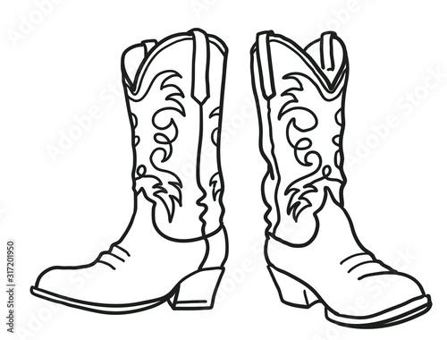 Valokuvatapetti Cowboy boots and western hat