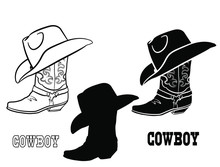 American Cowboy Boots And Hat. Vector Graphic Illustration Of Western Cloth Isolated On White