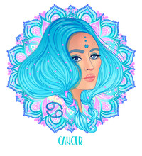 Drawing Of Cancer Astrological Sign As A Beautiful Girl Over Ornate Mandala Pattern. Zodiac Vector Illustration Isolated On White. Future Telling, Horoscope, Alchemy, Fashion Woman.