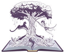 Mowgli Jungle Book And Panther On Tree. Open Book Illustration