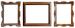 canvas print picture - Set of golden antique frames on a white background isolated