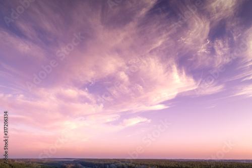 Vászonkép Colorful cloudy sky at sunset