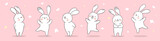 Draw banner rabbit on pink pastel for spring season.
