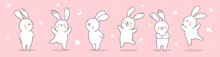 Draw Banner Rabbit On Pink Pastel For Spring Season.