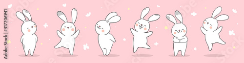Draw banner rabbit on pink pastel for spring season. Fotobehang