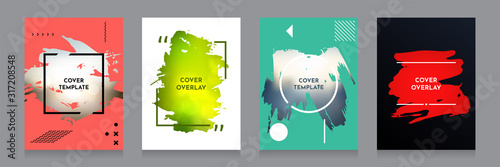 Obraz Vector grunge overlay. Backgrounds set. Abstract frame with Memphis pattern elements. Ink brush strokes mess. Design for flyer, banner, poster, invitation, gift card, voucher, coupon, book covers. - fototapety do salonu