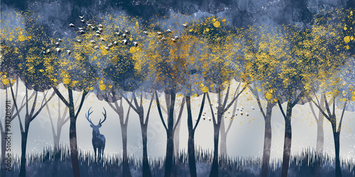 Obrazy do jadalni  3d-modern-art-mural-wallpaper-with-dark-blue-jungle-forest-background-golden-deer-black